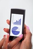 Businesswoman Analyzing Financial Charts On Mobilephone In Office