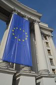 KIEV, UKRAINE -APRIL 28, 2014: The Ministry of Foreign Affairs of Ukraine with EU Flag on April 28 i