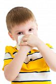 Kid blowing Nose With Tissue Isolated On White