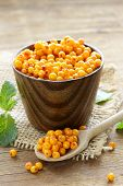 pic of sea-buckthorn  - fresh ripe organic sea buckthorn berries in a wooden mug - JPG