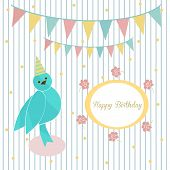 Cute blue bird on a background of festive garland and frame with inscription happy birthday