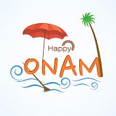 South Indian festival Onam celebrations with umbrella, coconut tree and stylish blue waves.