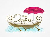 Illustration of stylish text of onam on south indian snake boat and an amberella on white background