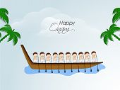 stock photo of tree snake  - South Indian people participating in Snake Boat Racing in river with coconut trees on nature background - JPG