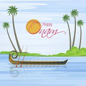 Poster of snake racing boat in the river with sun style text of onam and tree, sky on light blue background.