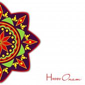Illustration of half image of colorful decorated rangoli on the simple white background.