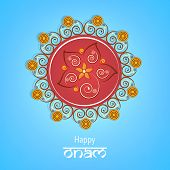 Beautiful colourful rangoli for onam wishes with stylish text of happy onam on light blue background