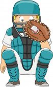 Illustration of a Boy Dressed in Baseball Gear Assuming a Catcher's Position