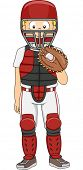 Illustration of a Boy Dressed as a Baseball Catcher