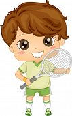Illustration of a Boy Dressed in Tennis Gear