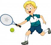 Illustration of a Boy Playing Lawn Tennis