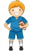 Illustration of a Boy Dressed in Football Gear