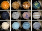 stock photo of uranus  - Solar system planets as sun mercury venus earth moon mars jupiter saturn uranus neptune pluto - JPG