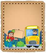 Parchment with school bus 3 - eps10 vector illustration.