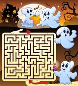 Maze 3 with Halloween thematics - eps10 vector illustration.
