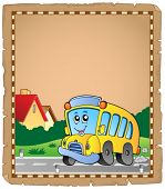 Parchment with school bus 2 - eps10 vector illustration.