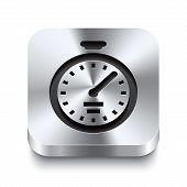 Square Metal Button Perspektive - Stopwatch Icon