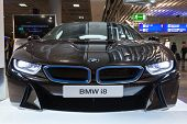 Frankfurt, Germany - August 28, 2014: Photo Of Black Bmw Series I8 Innovation Car  Advertising Stand