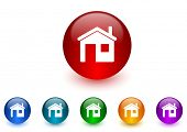 house internet icons colorful set