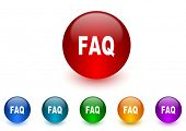 faq internet icons colorful set