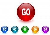 go internet icons colorful set