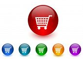 cart internet icons colorful set