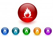 flame internet icons colorful set