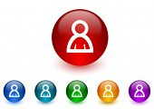 person internet icons colorful set