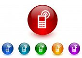 phone internet icons colorful set