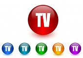 tv internet icons colorful set