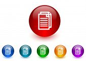 document internet icons colorful set