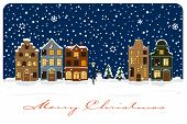 Winter Village Christmas Greetings Vector Illustration. Christmas Greeting Card with snow covered vi