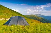 Tourists tent in Carpathian mountains
