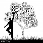 Vector concept or conceptual black ecology text word cloud as tree and grass, a man jumping isolated