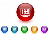 16 9 display internet icons colorful set