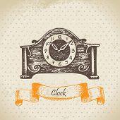 Vintage clock. Hand drawn illustration