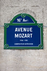 picture of mozart  - A street sign for Avenue Mozart in Paris named after famous Austrian Composer Wolfgang Amadeus Mozart - JPG