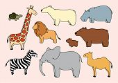 Child's drawing of animals (raster version)