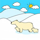 Child's drawing of polar bears family (raster version)