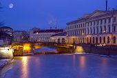 the Moika river embankment, Saint Petersburg, Russia