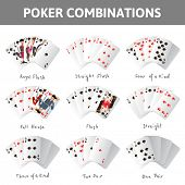 9 poker cards combinations on white background