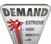image of thermometer  - Demand word on a thermometer to measure the support or response of customers to your products or services - JPG