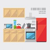 Flat Design Of Kitchen Interior