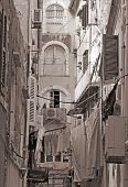 Greece. Corfu Island. A Typical Courtyard In The Center Of Corfu Town. Sepia