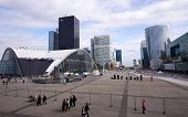La Defense district and people walking in Paris