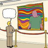 Curious Man Looking At Artwork