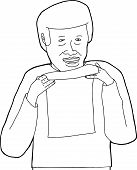 Outline Of Man Holding Paper