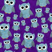 Blue Owls On Purple Textured Fabric Repeat Pattern Background