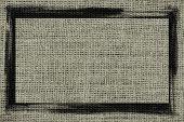 gray burlap textured background with black frame design
