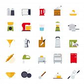 Cooking and Kitchen Vector Icon Collection. Set of 25 kitchen and cooking related flat design isolated icons.